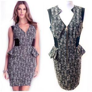 Bebe 10 Black Tweed Peplum Dress Chloe Bodycon V